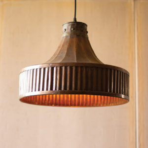 Corrugated Copper Pendant Light