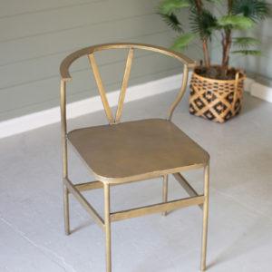 Antique Brass Finish Metal Wishbone Chair