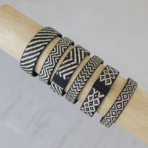 Set 6 Braided Black & White Cana Flecha Wrap Around Cuffs