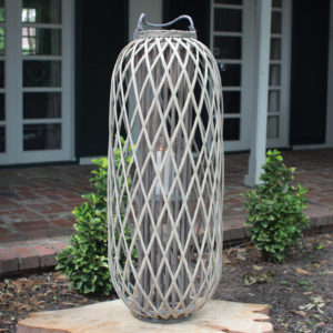 Tall Grey Willow Lantern With Glass - Small
