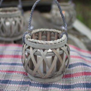 Grey Willow Votive Lantern With Glass - (Includes 4)