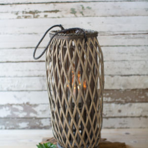 Tall Grey Square Willow Lantern - Medium