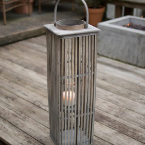 Medium Square Bamboo Lantern With Glass - Grey