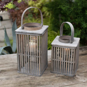 Set Of Two Square Bamboo Lanterns With Glass - Grey