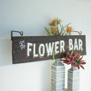 Wooden Flower Bar Sign