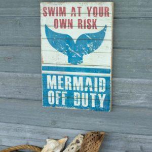 Mermaid Off Duty Printed On Wood