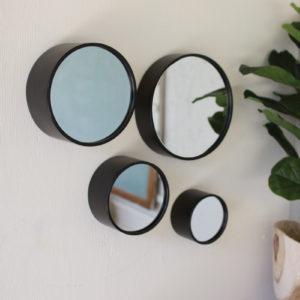 Set Of Four Round Metal Wall Mirrors - Antique Black