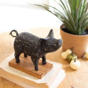 Cast Iron Pig On A Wood Base