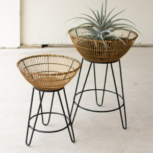 Set Of Two Round Bamboo Baskets On Metal Stands