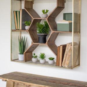 Wooden Honey Comb Shelf W Ant Brass Finish Metal Mesh Frame