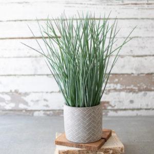 Artificial Grass In A Herringbone Pot
