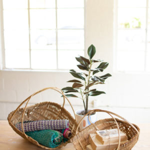 Set Of Two Natural Bamboo Scoop Baskets