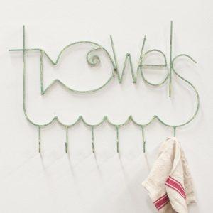Turquoise Metal Fish Shaped Towel Rack