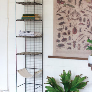 Wood And Metal Storage Tower With Canvas Sling Shelf
