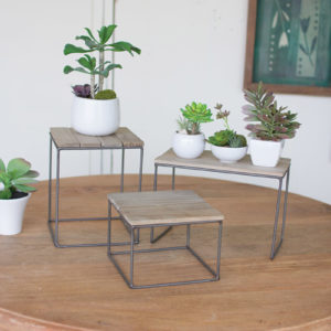 Set Of Three Wood And Metal Table Top Risers