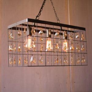 Large Rectangle Pendant Light With Amber Hanging Gems