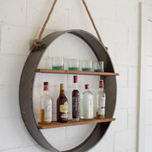 Circle Iron And Wood Hanging Wall Shelf