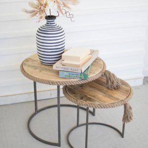 Set Of 2 Round Nesting Tables W Recycled Wood W Rope Accent