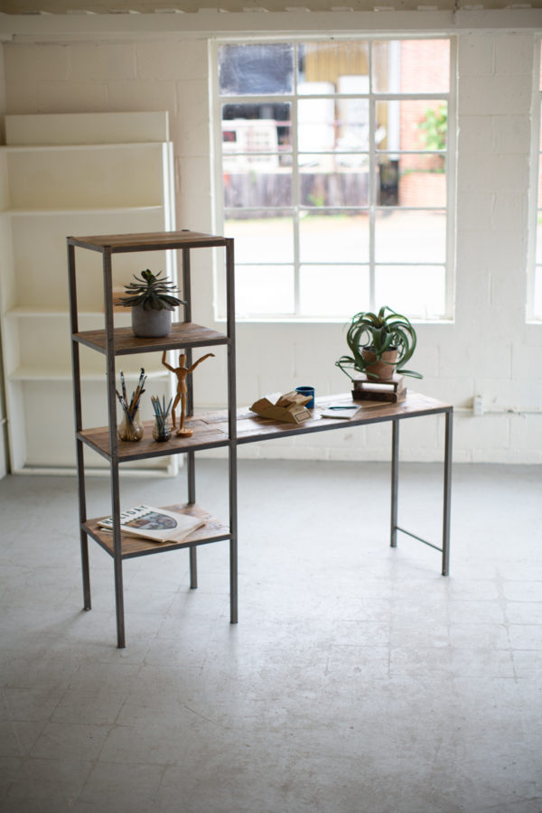 Recycled Wood And Metal Work Station