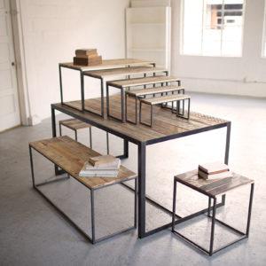 Set Of Nine Recycled Wood And Metal Display