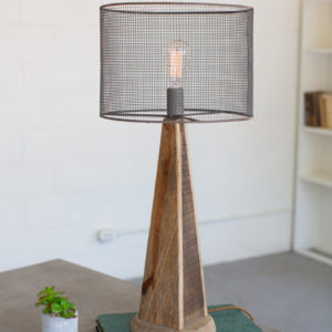 Table Lamp - Mesh Shade With Wooden Base #1