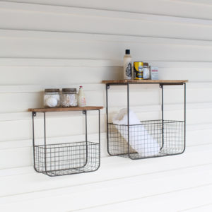 Set Of Two Wire Basket Shelves Wthi Recycled Wood Tops