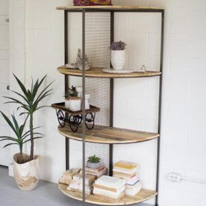 Recycled Wood And Metal Demi Lune Shelving Unit