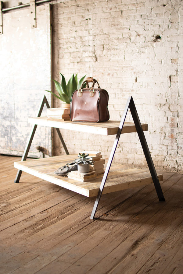 Recycled Wood & Metal 2 Tiered Display Table W A-Frame Base