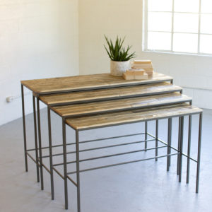Set Of Four Recycled Wood And Iron Display Consoles