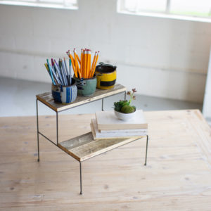 Two Tiered Recycled Wood And Metal Display Stands - (Includes 2)