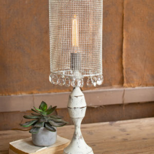 Antique White Tabletop Lamp With Wire Mesh Shade And Gems