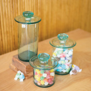 Set Of Three Recycled Glass Canisters - Clear