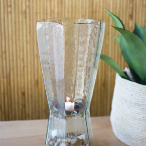 Glass Star Hurricane With Metal Candle Insert - Large