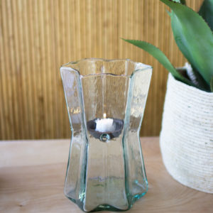 Glass Star Hurricane With Metal Candle Insert - Small