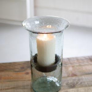 Original Glass Candle Cylinder W Rustic Insert - Medium