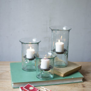 Set Of Three Recycled Glass Votive Cylinders