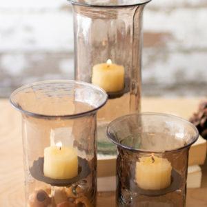 Set Of Three Mini Smoked Glass Votive Cylinders