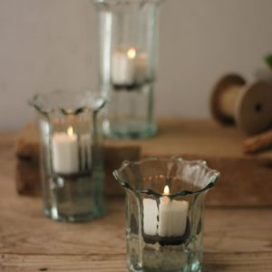 Set Of Three Recycled Glass Ribbed Votive Cylinders