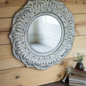 Pressed Metal Flower Wall Mirror (Rebox)
