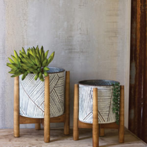 Set Of Two Pressed Tin Planters With Wooden Bases