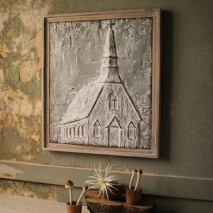 Wood Framed Pressed Metal Church - Large