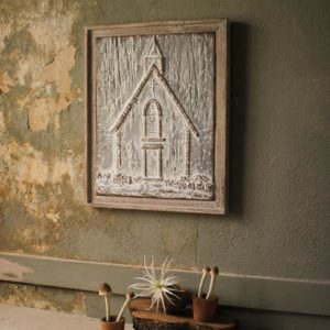 Wood Framed Pressed Metal Church - Small