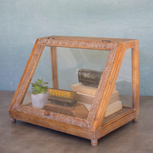 Wood & Glass Display Case W Slanted Front - 20X13