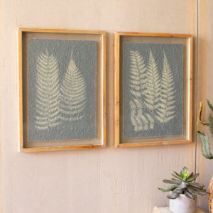 Set Of Two Fern Prints Under Glass