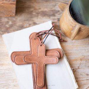 Set Of Three Leather Crosses