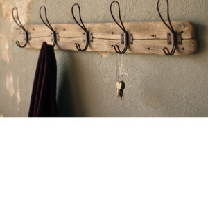Recycled Wood Coat Rack With Rustic Hooks