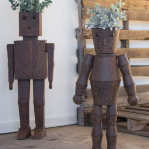 Set Of Two Metal Robot Planters