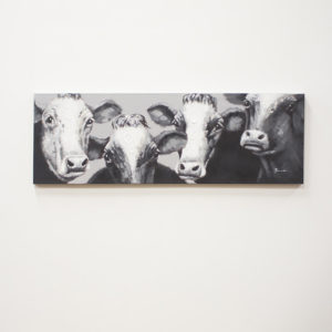 Oil Painting Black And White Four Cows