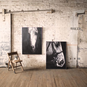 Oil Painting Black & White Side View Horse W Silver Frame