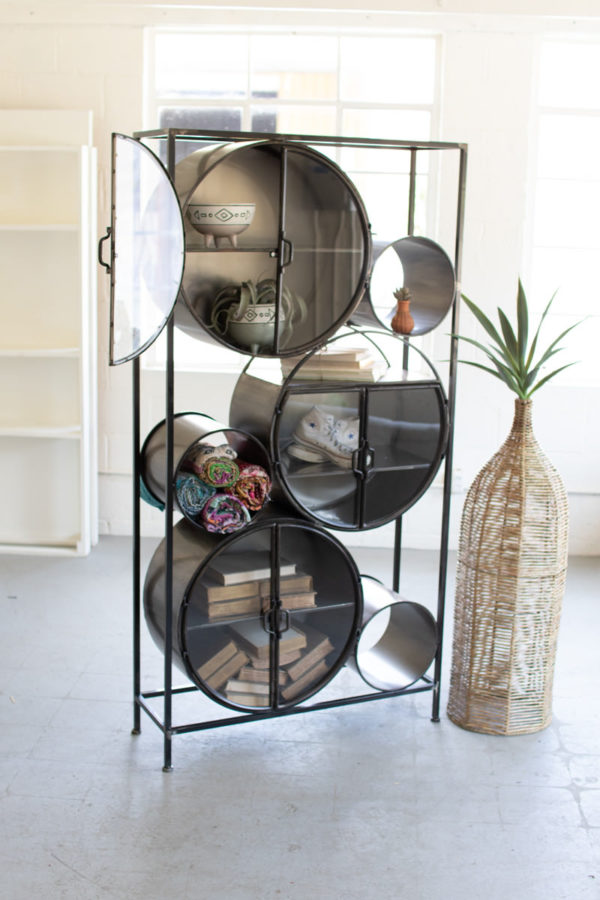 Iron And Glass Circles Shelving Unit